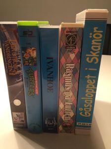 Fem VHS-band. Köpta filmer